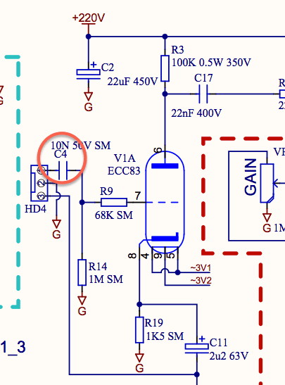Laney Cub has an input cap on schematic that didn\'t make it onto the ...